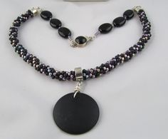Onyx and Seed Bead Kumihimo Necklace by Luckysammy