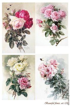 Vintage Diy, Decoupage Vintage, Vintage Ephemera, Vintage Cards, Vintage Paper, Vintage Flowers, Vintage Images, Napkin Decoupage, Decoupage Paper