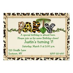 """This cute child's birthday invitation features the word """"party"""" in jungle prints with bamboo frame and leopard border.  Perfect for girls and boys of all ages.  Can also be used as a general party invitation for adults. Just personalize the text with your party details.  Invitations come complete with envelopes and your choice of paper.<li>Graphics©http://www.delightful-doodles.com/</li>"""