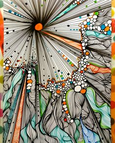 "Abstract painting, painting abstract, with Poscas acrylic ""EXPLOSION - Art Painting, Art Drawings, Drawings, Doodle Art, Art, Zentangle Art, Sharpie Art, Tangle Art, Zen Art"