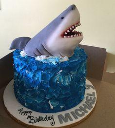 Shark cake Toddler Birthday Cakes, Shark Birthday Cakes, 5th Birthday, Birthday Ideas, Cupcakes, Cupcake Cakes, Beautiful Cakes, Amazing Cakes, Neon Cakes