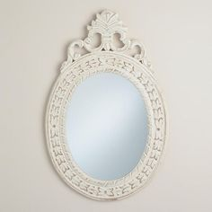 One of my favorite discoveries at WorldMarket.com: Antique White Oval Paloma Mirror - Would love this in my dining room!