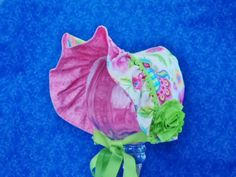 Infant Baby Bonnet Ivory with Pink Roses Green Leaves by AdorableandCute on Etsy
