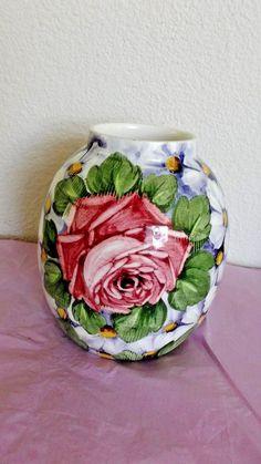 "Antique Kronprinz Annaburg Ceramic Vase, Germany, Floral Design 632, 5 1/8""H #ArtNouveau #Annaberg"