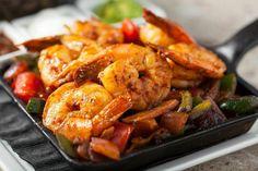 Shrimp Fajitas on a cast iron grill