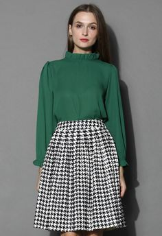 Ruffle Trimmed Crepe Top in Emerald - New Arrivals - Retro, Indie and Unique Fashion
