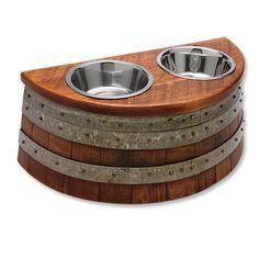 wine barrel dog feeder