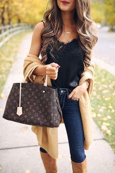 lace cami, camel wrap, louis vuitton handbag