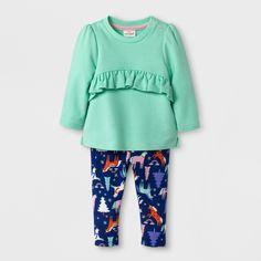 Baby Girls' 2pc Shirt and Unicorn Fleece Leggings - Cat & Jack Green 12 M, Size: 12 Months