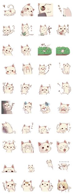 画像 - These are going in Kawaii Cats - No Notes except these ideographs- no Idea who to credit. Chat Kawaii, Kawaii Cat, Art Mignon, Dibujos Cute, Line Sticker, Kawaii Drawings, Emoticon, Cute Stickers, Animal Drawings