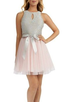 6546928967e Teeze Me Sleeveless Halter Keyhole Front Lace Top Social Dress - Grey Pink