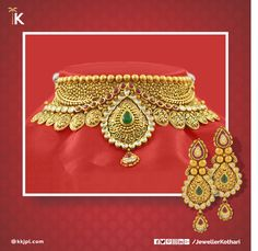 Make your beautiful #bride gorgeous with traditional and modern #jewellery collection at Karan Kothari Jewellers. Visit us to explore our entire #wedding collection.    #AntiqueGold #Choker #Necklace #ColourStones #Polki #Attractive #HalfSet #Earrings #UniqueDesign #Paisley #Wedding #Jewellery #PartyWear #LightWeight #PureAndTimeless    Net Wt: 75.04 gms  Colour: Antique Gold   Stone: Polki Purity: 22K  Certification: Hallmark   Product Code: 5A11955