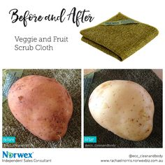 Before and after the Norwex vegetable and fruit peeling cloth - Before & After Pics Norwax Cleaning Products, Norwex Cleaning, Green Cleaning, Spring Cleaning, Cleaning Hacks, Norwex Products, Kitchen Products, Norwex Cloths, Norwex Party