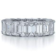 Emerald Cut Diamond Eternity Wedding Ring 6.01 carat