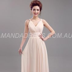 amandadress.com.au SUPPLIES Elegant & Luxurious Spring All Sizes Wedding Party Sleeveless Zipper-up Fall V-Neck Dress Long Bridesmaid Dresses (3)