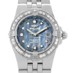 Breitling Starliner Ladies Blue Mother of Pearl Diamond Watch A71340