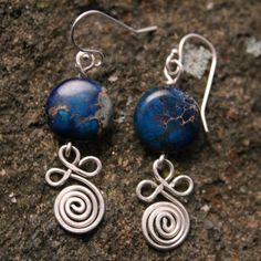 Sterling Silver Clover Leaf Spiral with Blue Sea Jasper Coin Bead Earrings