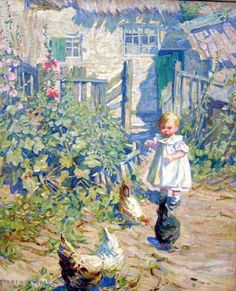 Dorothea Sharp - Child playing with chickens
