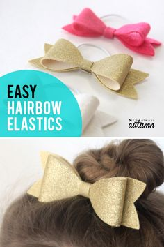 These cute hairbows are easy to make and look darling… Simple DIY Hairbow Rubber Bands. These cute hair bows are easy to make and look great! Homemade Hair Bows, Easy Hair Bows, Felt Hair Bows, Toddler Hair Bows, Ribbon Hair Bows, Making Hair Bows, Girl Hair Bows, Girls Bows, Ribbon Flower