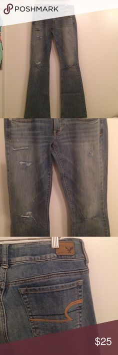 AE Destroyed Artist Jeans AE Destroyed Artist Jeans. Size 4 regular. Lightly worn American Eagle Outfitters Jeans Flare & Wide Leg