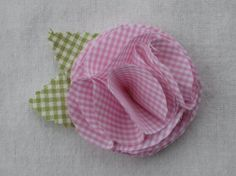 light pink gingham flower barrette by YeauxYeauxBows on Etsy, $8.00