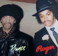 Prince (posing as Jamie Starr) with Roger Troutman of Zapp.