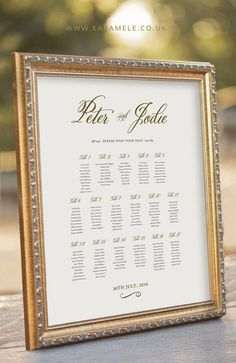 Gold Guest Seating Chart  Wedding Reception Sign  by KarameleShop