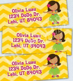 Luau Girl Return Address Labels Printable DIY on Etsy, $5.00