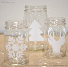 Diy mason jar luminaries for the christmas holidays how to tutorial by debbie hayes of my patch of blue sky modern masters metallic paint collection Mason Jar Christmas Crafts, Mason Jar Crafts, Mason Jar Diy, Holiday Crafts, Christmas Diy, Christmas Decorations, 242, Mason Jar Lighting, Painted Mason Jars