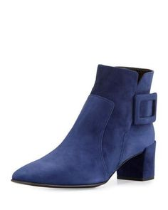 ROGER VIVIER Polly Suede Buckle Bootie, Navy. #rogervivier #shoes #boots
