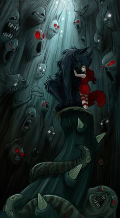 The Art Of Animation, Margaux Kindhauser's funart #RedRidingHood - Looks like she is comforting and protecting the wolf ....