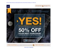 """GAP """"We miss you"""" 50% off - reengagement email"""