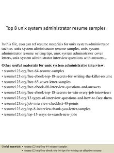 It System Administrator Resume  Resume Samples
