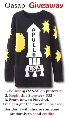 Oasap new GIVEAWAY Event ★ Just FOLLOW and REPIN to get the new arrival Hot Seller sweater FOR FREE ❤ and one can also get credits