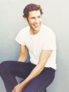 John Krasinski: basic white tee and blue jeans. #style