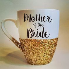 mom gift possibility: Mother of the Bride or Mother of the Groom - hand glittered coffee mug - made to order