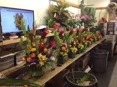 Topical flower arrangements being created at Everyday Flowers.