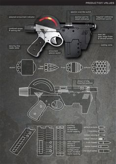 Mk2 Lawgiver (not too sure about the 'bayonet attachment' tho)