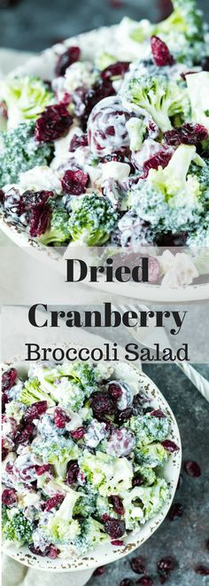 Dried Cranberry Broccoli Salad is a nutrient rich satisfying Spring time side dish The Dried Cranberries add a beautiful pop of color fiber and vitamin C Cold Side Dishes, Healthy Side Dishes, Vegetable Side Dishes, Healthy Broccoli Salad, Healthy Salad Recipes, Real Food Recipes, Broccoli Cranberry Salad, Drink Recipes, Bbq Recipes Sides