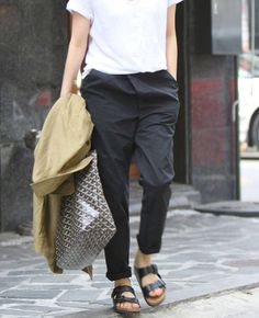 Loose fit black trousers and birkenstocks