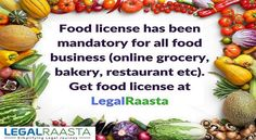 #Food #license has been mandatory for all food #business (online #grocery, #bakery, #restaurant etc). Get food license at #LegalRaasta for only  #Foodlicense #Fssairegistration #fssailicense Rs. 4,499/-