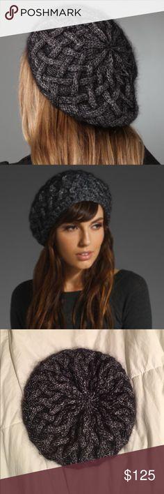 👩🏼🎨 Eugenia Kim Madeline beret Gunmetal metallic yarn beret with lattice print. NEW!! Eugenia Kim Accessories Hats