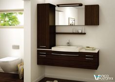 The gentle curve of the light bridge, sink and towel bar soften the furniture and promise an elegant bathroom. SINK : SMILE in white Unimar+. Hanging Furniture, Bathroom Furniture, Bamboo House Design, Lavabo Design, Dining Cabinet, Guest Toilet, Wall Hung Vanity, Bath Vanities, Modern Bathrooms