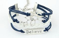 Believe Bracelet in Navy and White