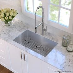 "Kraus Handmade Stainless Steel 16 Gauge 30"" L x 18"" W Undermount Kitchen Sink with Faucet Finish: Stainless Steel"