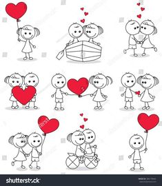 Fonts Alphabet Discover Collection Set Cute Couple Doodle Hearts Stock Vector (Royalty Free) 386179042 collection set of cute couple doodle with hearts Doodle Art, Doodle Drawings, Easy Drawings, Heart Doodle, Love Doodles, Valentine Cookies, Valentines, Stick Figure Drawing, Stick Figures