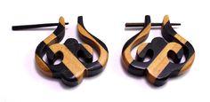 (sku no:Sew_37) A Pair of Organic Fake Brown Black Strap Wooden Boho Hippie Earrings Sew_37.please visit our website www.krishnamartindia.com