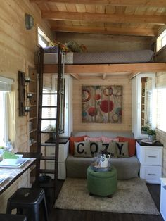 A tiny house on wheels with a total of 270 square feet (including loft) of living space in La Mirada, California. I really like tiny homes Tyni House, Tiny House Living, Tiny House Plans, Tiny House On Wheels, Tiny House With Loft, Tiny House Movement, Casa Loft, Casas Containers, Small Space Living