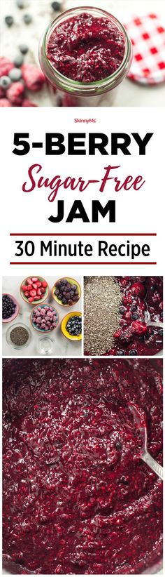 5-Berry Sugar-Free Jam - this 5-Berry Sugar-Free Jam recipe is a quick 30-minute recipe that is clean and natural, the way jam should be. #30minuterecipes #healthyrecipes #jamrecipes #breakfastrecipes #easyrecipes #fastrecipes #sugarfreerecipes #naturalrecipes #cleaneating #cleaneatingrecipes via @skinnyms
