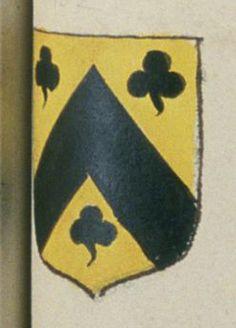 Gilles LIMIERE, greffier au présidial d'Angers. Porte : d'or, à un chevron de sable accompagné de trois trèfles de même | N° 102